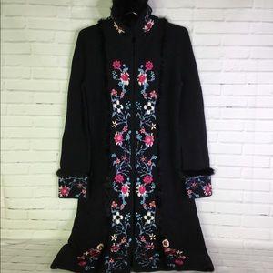 VTG Express Wool Black Floral Long Cardigan Size S